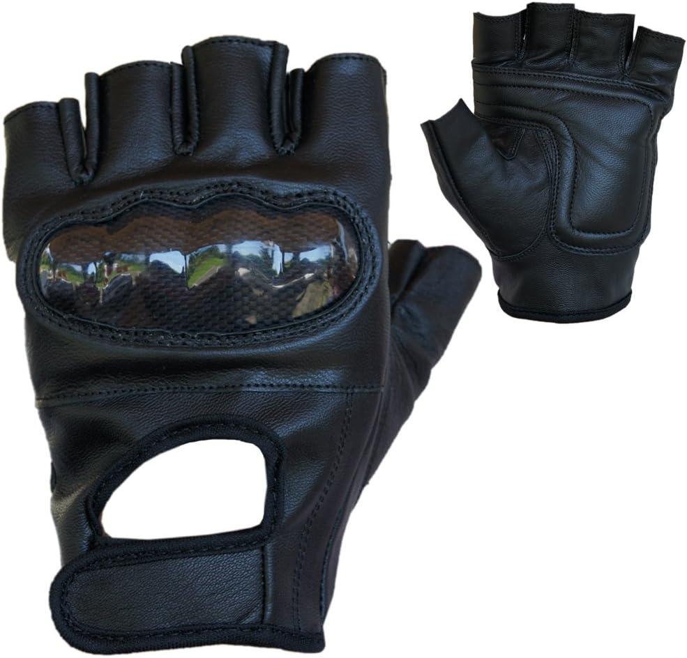 PROANTI Motorradhandschuhe Leder Chopper Handschuhe mit Protektor Gr. S-XXL, schwarz