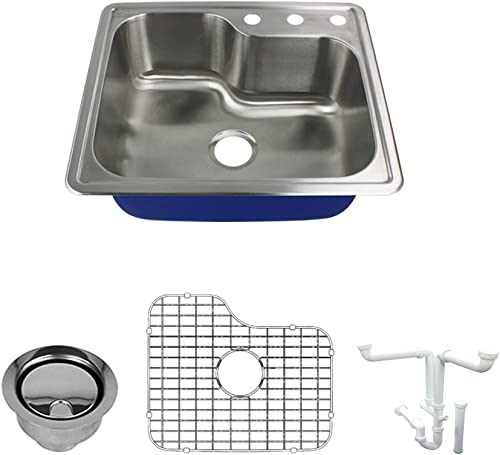 Transolid K-MTSO25229-3 Meridian 3-Hole Drop-in Single Bowl 16-Gauge Stainless Steel Kitchen Sink Kit, 25-in x 22-in x 9-in, Brushed Finish