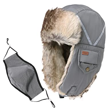 03f389f83ac57 Reflective Stripes Hat Faux Fur Trapper Hat Aviator Earflap Hat Winter  Pilot Soviet Russian Ushanka Hat