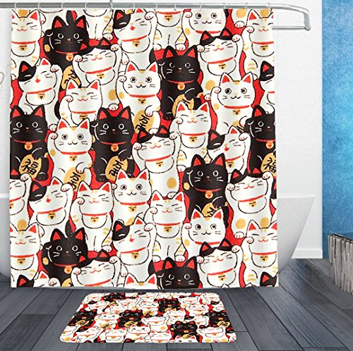 Lucky Kitty Stars Hello (SWEET TANG Lucky Cat Shower Curtain Liner With Hooks and non slip bath rug mat - Mildew Resistant Waterproof Polyester Fabric Bathroom Decor Set - 72x72/16x24)