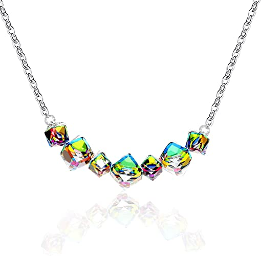 Uloveido Womens Square Cube Mystic Topaz Rainbow Magic Color Changing Crysal Necklace Platinum Plated Birthday Gift GR128