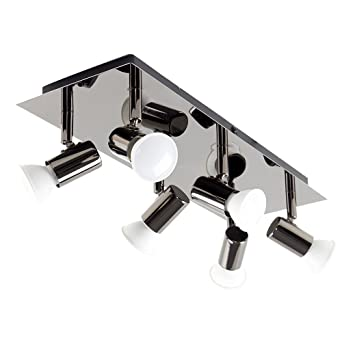 6bea13105f41 MiniSun - Modern Rectangular Black Chrome 6 Way Adjustable GU10 Ceiling  Spotlight