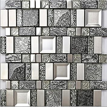 Rustikale Graue Harz Mix Metall Fliesen Design, Gemischte Küche Backsplash  Wand Glasfliesen, Vintage Mosaik