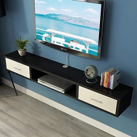 GDF-ESTANTES FLOTANTES Consola Multimedia montada en la Pared Mueble de TV Retro con Dos cajones
