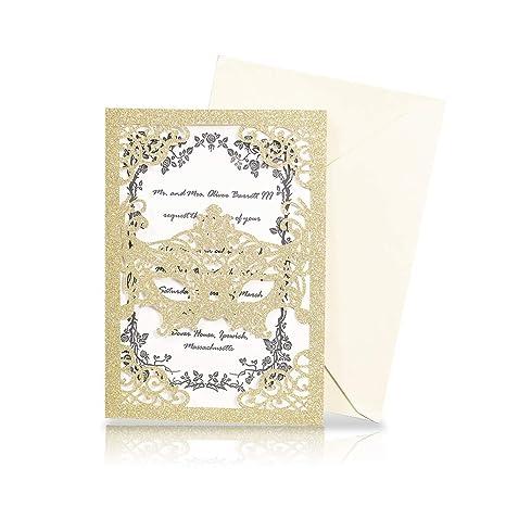 Amazon Com Kazipa 25pcs Laser Cut Wedding Invitations 5x7 Mask