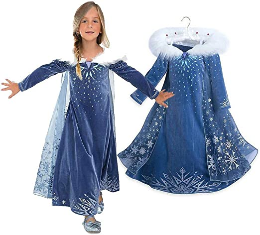 GIRLS SNOW QUEEN HOODED CAPE CHILD HALLOWEEN COSTUME ACCESSORY