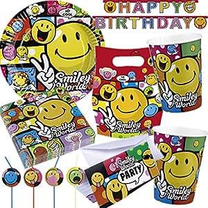 Riethmüller Dekospass - Kit de 91 piezas para cumpleaños infantiles con diseño de emoticones (para 8 niños, incluye platos, vasos, servilletas, pajitas, invitaciones, bolsas, guirnaldas, globos, etc.)