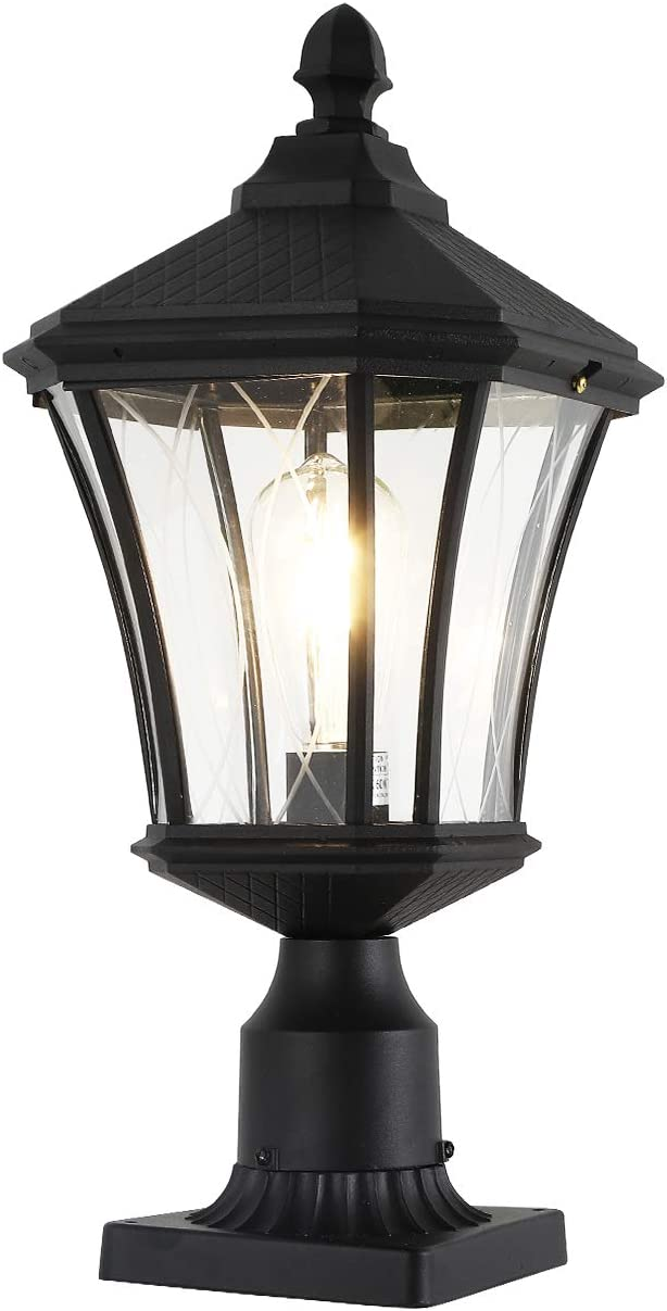 "Outdoor Post Light Fixture, 20"" Exterior Post Lantern with Pier Mount Base, Weather Resistant Aluminum Base with Clear Glass Pier Mount Light Black Outdoor Pole Light for Patio, Porch, Yard, Garden"