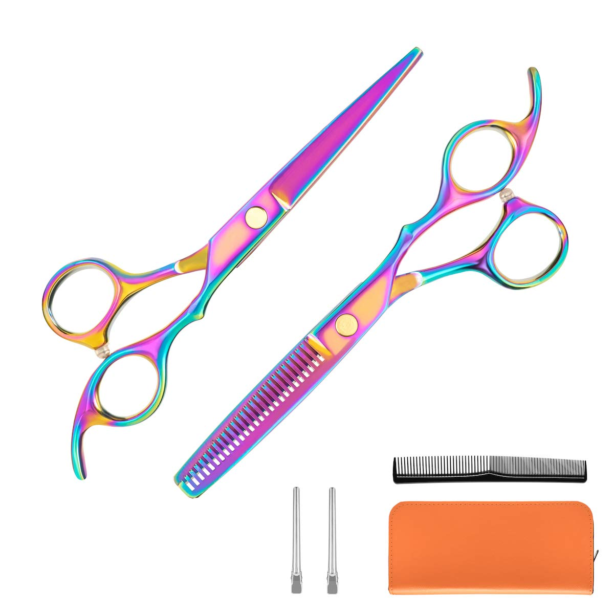 Kilajojo Hair Scissors and thinning shears set - Professional Barber Scissors/barber Shears - Sharp Edges and Rainbow Color Hair Shears/thinning scissors/hairdresser scissors with Case (set) by kila jojo