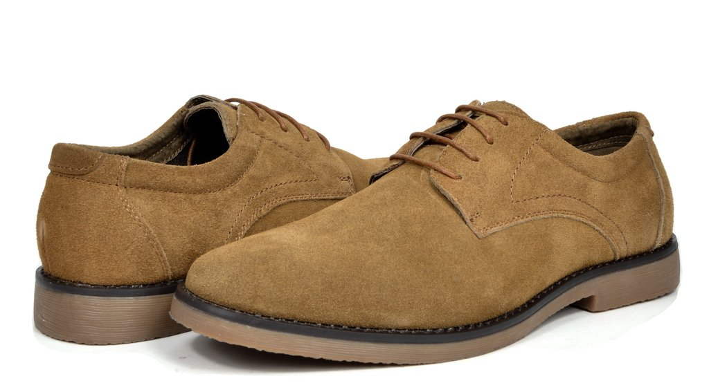 Bruno Marc Men's Wrangle Tan Suede Leather Lace Up Oxfords Shoes - 10.5 M US by BRUNO MARC NEW YORK