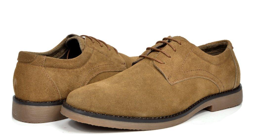 Bruno Marc Men's Wrangle Tan Suede Leather Lace Up Oxfords Shoes - 10.5 M US