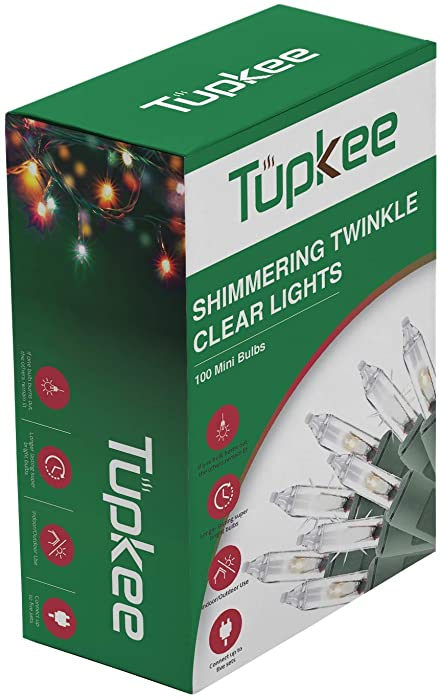 Christmas Random Twinkle Shimmering Lights - Indoor Outdoor – 20.5 Feet Light String, 100 Clear Bulbs - Christmas Tree Holiday Decor Sparkling Twinkling Christmas Lights