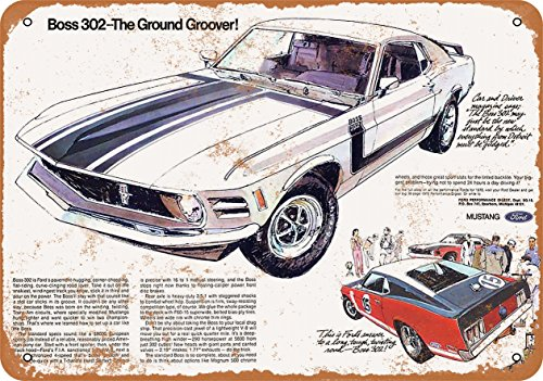 Wall-Color 10 x 14 Metal Sign - 1970 Ford Mustang Boss 302 - Vintage Look
