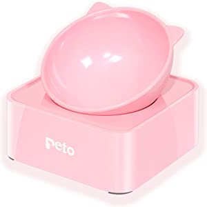 Cat Dog Bowl Raised Cat Food Water Bowl with Detachable Elevated Stand Pet Feeder Bowl No-Spill, 0-30°Adjustable Tilted Pet Bowl Stress-Free Suit for Cat Dog (Pink)