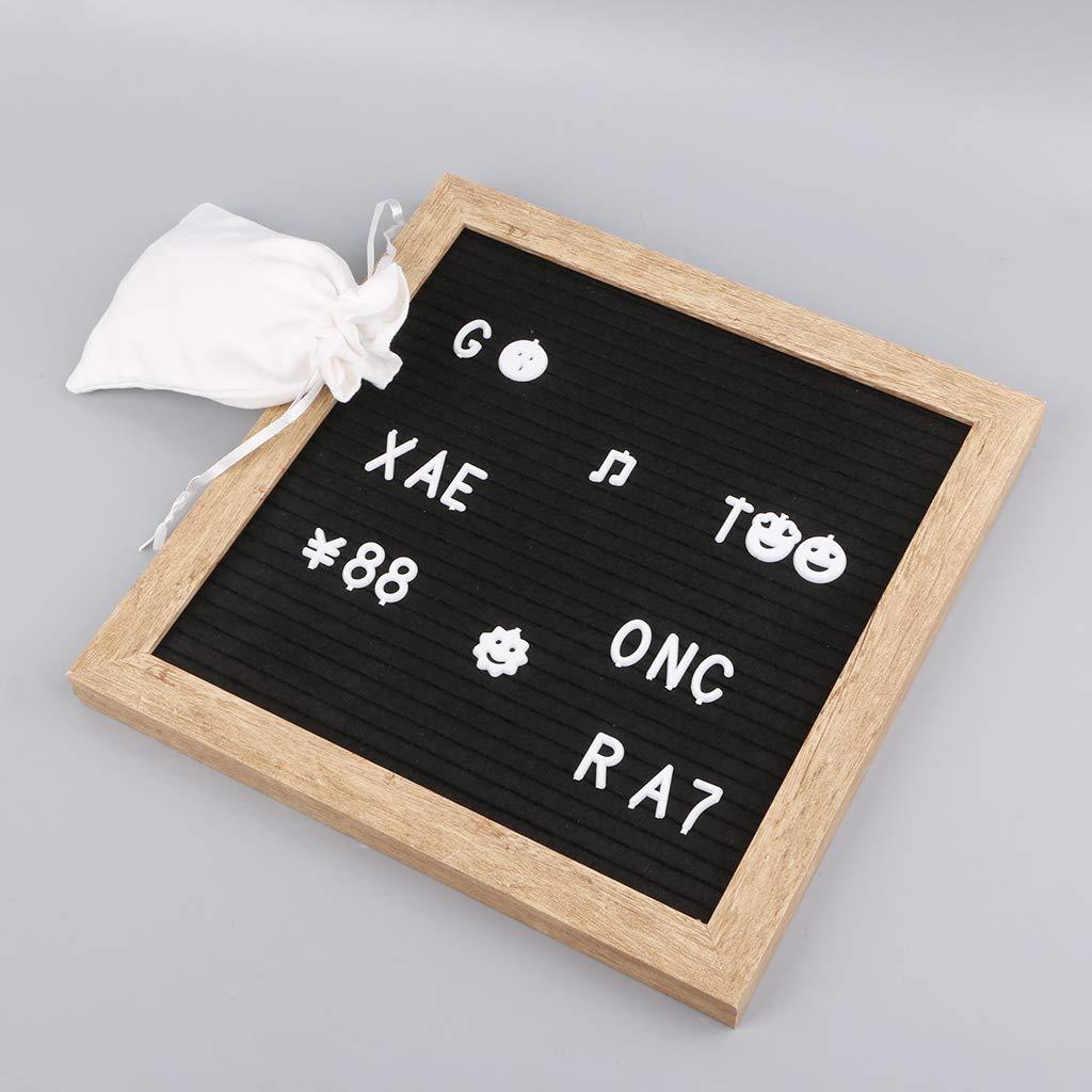 25,4 x 25,4 cm, Madera Retro, 340 Letras Blancas y Bolsa Fafalloagrron Tablero de Fieltro para Cartas