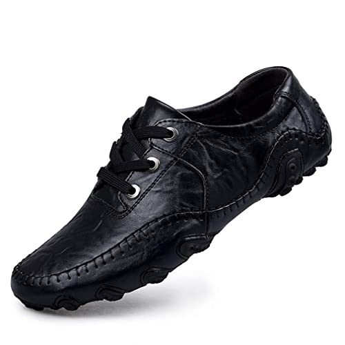 2018 Zapatos para Hombre Ocasionales de Cuero Respirable Mocasines con Cordones Zapatos Zapatillas Zapatos de conducción Noche Oficina al Aire Libre y ...