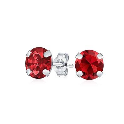 Round Cut Cubic Zirconia CZ Garnet Sterling Silver January Stud Basket Earrings