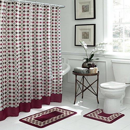 Bath Fusion Christine Geometric 15-Piece Bath Set, Barn Red/Espresso 85%OFF