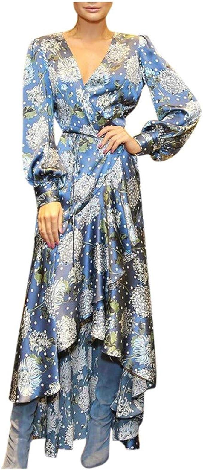 profondità Ecologia Convertire  Benbzh Abiti Lunghi da Donna Stampati a Manica Lunga con Scollo a V Autunno  Vintage Sexy Vestiti da Spiaggia Donna Eleganti Stampati Asimmetrico  Vestiti: Amazon.it: Abbigliamento
