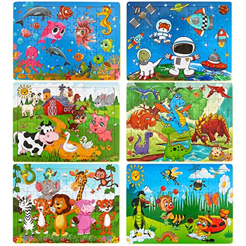 Dreampark Puzzles for Kids Ages 3-8, 6 Pack Wooden Jigsaw Puzzles 60 Pieces Preschool Educational Learning Toys Set for Boys and Girls