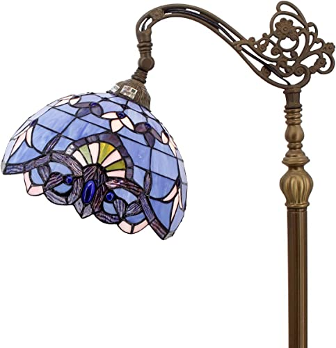 Tiffany Style Reading Floor Lamp Lighting W12H64 Inch Blue Purple Stained Glass Lavender Baroque Lampshade Antique Adjustable Arched Base S003C WERFACTORY Lamps Living Room Bedroom Beside Table Gift