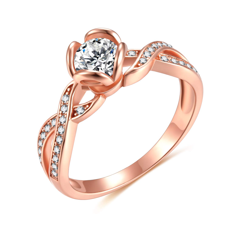 EAMTI 925 Sterling Silver 1 Carat CZ Round Engagement Ring Rose Gold Flower Twist Wedding Band Size 5-10