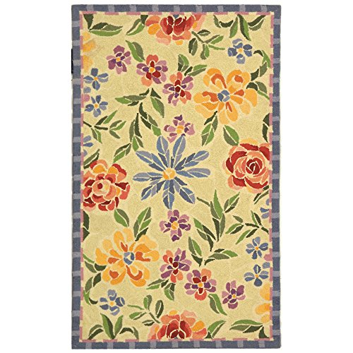"Safavieh Chelsea Collection HK214A Hand-Hooked Ivory Premium Wool Area Rug (1'8"" x 2'6"")"