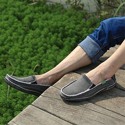 Fluores Appartamenti Moda Uomo Traspirante Moda Gray Maschi Canvas Shoes Jeans Mens Casual Scarpe PrvPFH