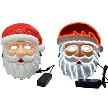 Kids Christmas Santa Claus LED Light Up Máscara Halloween EL Máscara de Alambre Intermitente para Fiesta