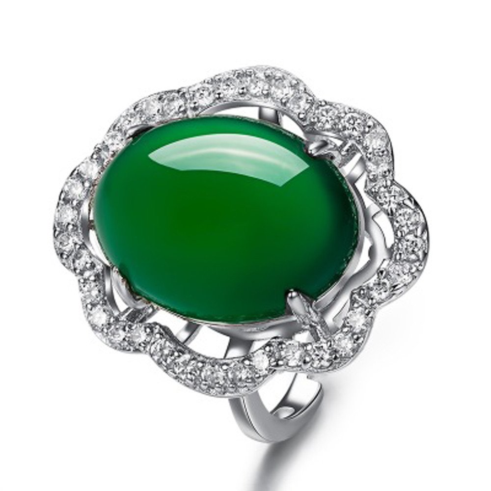 HUAMING Green Chalcedony Inlaid Zircon Ring Fashion Adjustable Jewelry for Women Noble Luxury Ring Unique Wedding Ring (Silver)