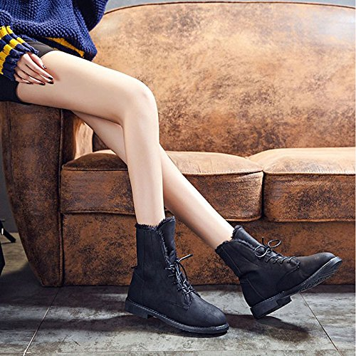 Confort botas talón Calf Cuadra para Botas Negro redonda Black puntera PU invierno Casual de mujer otoño moda Zapatos HSXZ Mid Botas Marrón wx0qnvafv