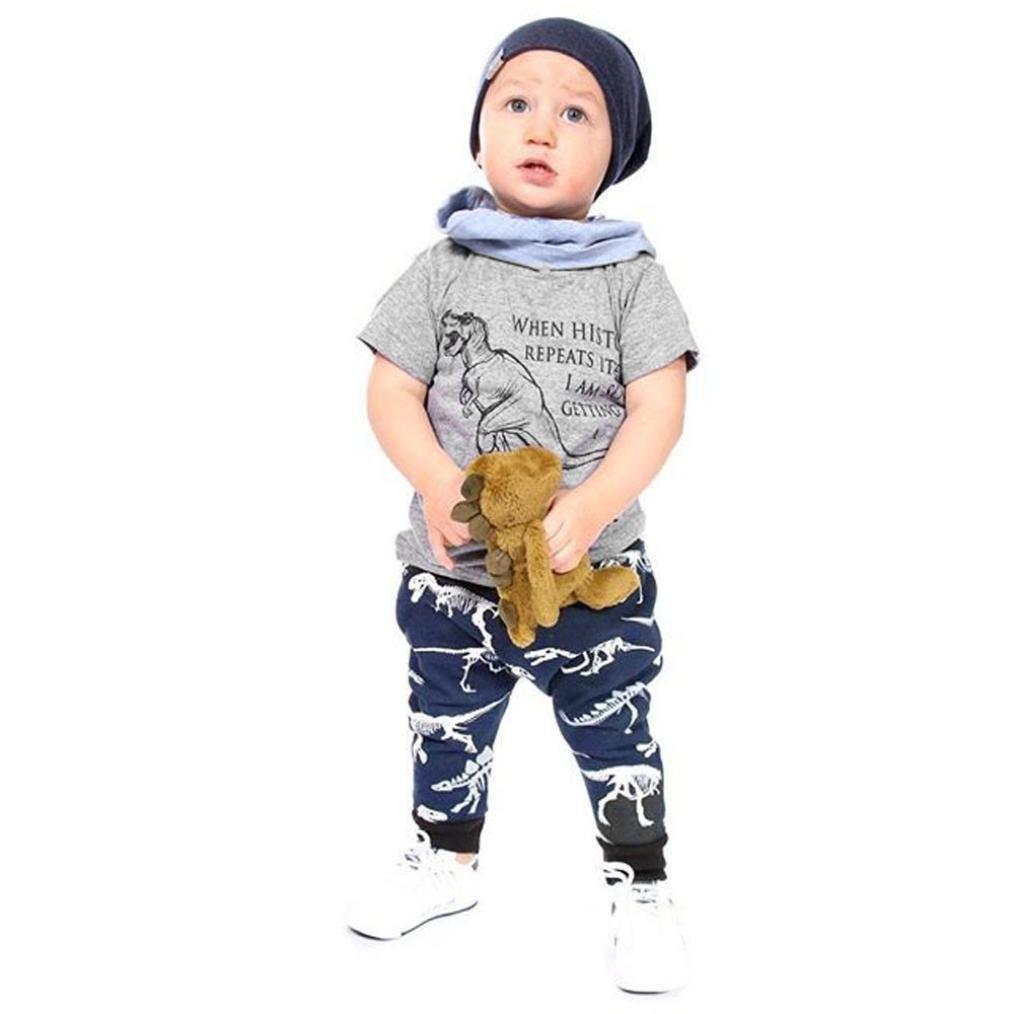 Culater 2018 Nuove Ragazze Lettera Dinosau Stampato Top Pantaloni Pantaloni 2 Pezzi Set Abiti Estivi per Baby Boys