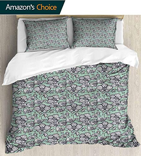 (Floral Duvet Cover Twin Xl,Box Stitched,Soft,Breathable,Hypoallergenic,Fade Resistant With Sham And Decorative 2 Pillows, Full Queen(79