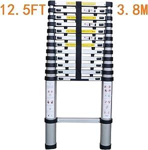 TUOGAO EN131 Telescoping Ladder Aluminum Telescopic Extension Ladder Folding Step Ladder Extends to 12.5 Ft