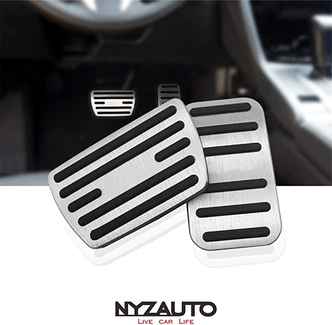 SILVER BOYUER Anti-Slip No Drilling Aluminum Brake and Gas Accelerator Pedal Covers For Honda Accord 2014 2015 2016 2017 Foot Pedal Pads Kit 2PCS