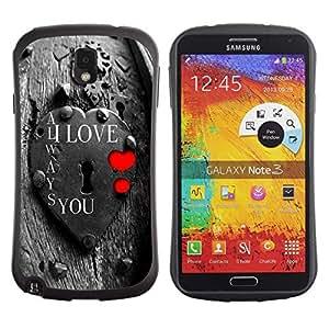 "Hypernova Slim Fit Dual Barniz Protector Caso Case Funda Para Samsung Note 3 [Te Amo Lock""]"