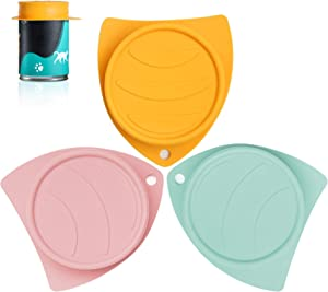 ComSaf Pet Food Can Covers Silicone Set of 3, Pet Food Can Lids Fit Multiple Sizes for Dog Cat Food, Durable Flexible Tight Seal Cover BPA Free Dishwasher Safe