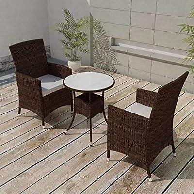 vidaXL Conjunto de Muebles de Exterior 3 Piezas Comedor de Jardín Sillas y Mesa de Porche Patio Poli Ratán Sintético Marrón Estilo de Mimbre: Amazon.es: Hogar