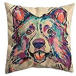 "Redland Art Cute Pet Border Collie Dog Pattern Cotton Linen Throw Pillow Covers Car Sofa Cushion Cases Home Decor Square 18""X18"" Inch 6"