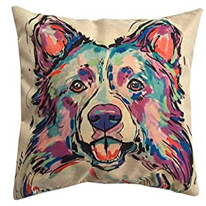 "Redland Art Cute Pet Border Collie Dog Pattern Cotton Linen Throw Pillow Covers Car Sofa Cushion Cases Home Decor Square 18""X18"" Inch 1"