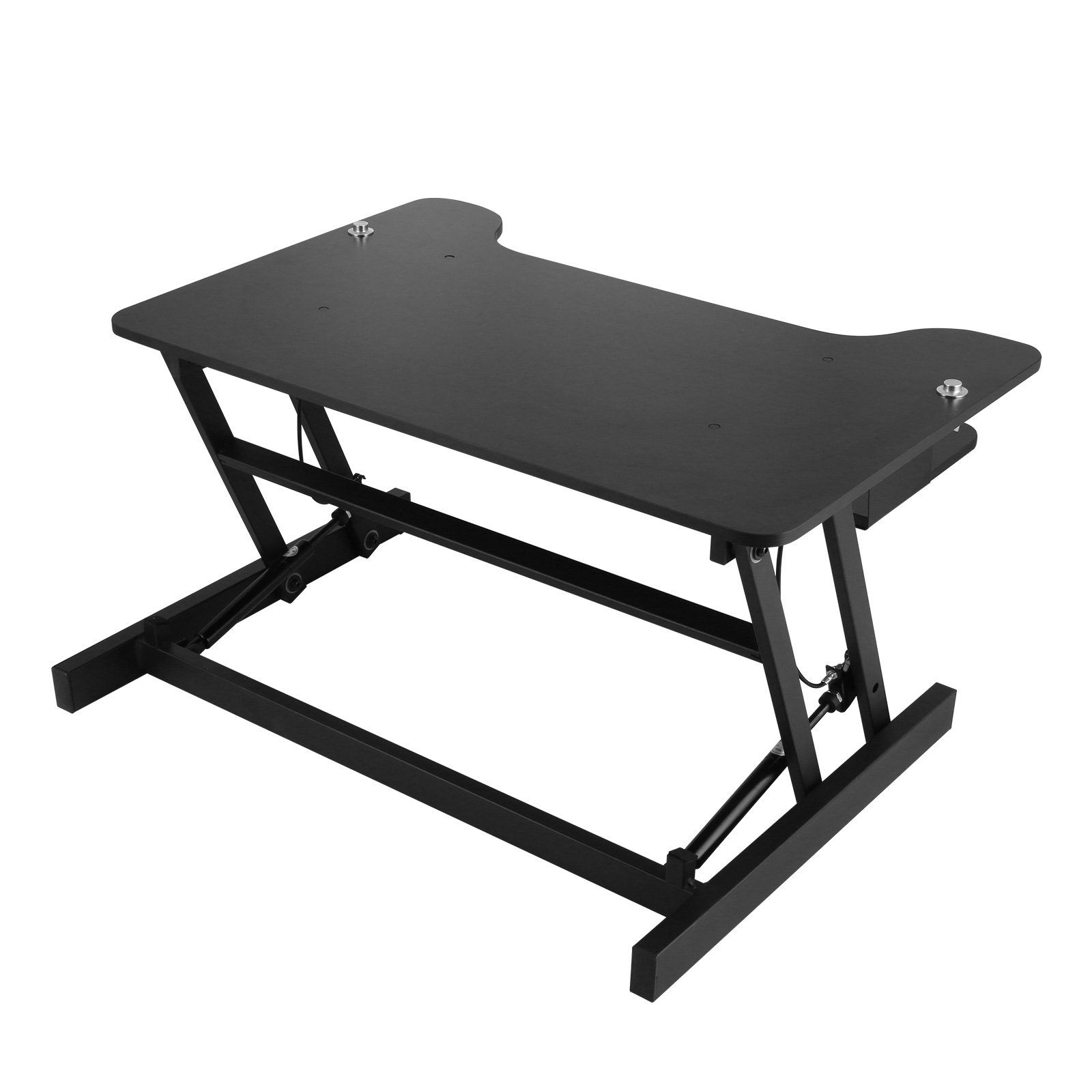 Mophorn Height Adjustable Standing Desk 2 Dual Monitors 31 Inch Wide Sit Stand Desk Riser 88Lbs Capacity Stand Up Desk Converter with Dedicated Keyboard Tray Elevating Desktop Riser Black by Mophorn (Image #9)