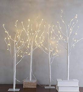 Plow & Hearth Set of 4-3 Ft. Pre-Lit Birch Stake Twig Artificial Tree, White