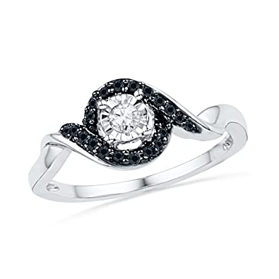 f306ab49f5508 Amazon.com: Sterling Silver Black and White Round Diamond Promise ...