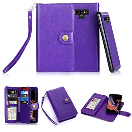 TabPow Galaxy Note 9 Case, 10 Card Slot - ID Slot, Button Wallet Folio PU Leather Case Cover with Detachable Magnetic Hard Case - Purple