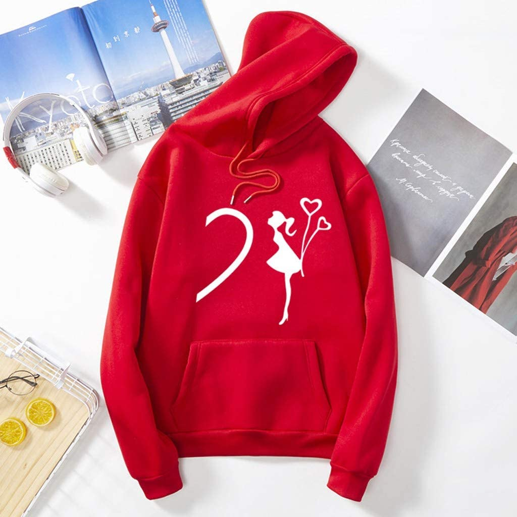 Valentines Day Heart-Shaped Pattern Print Hoodie Sweatshirt Long Sleeve O-Neck Pocket Tops for Men Women Couples