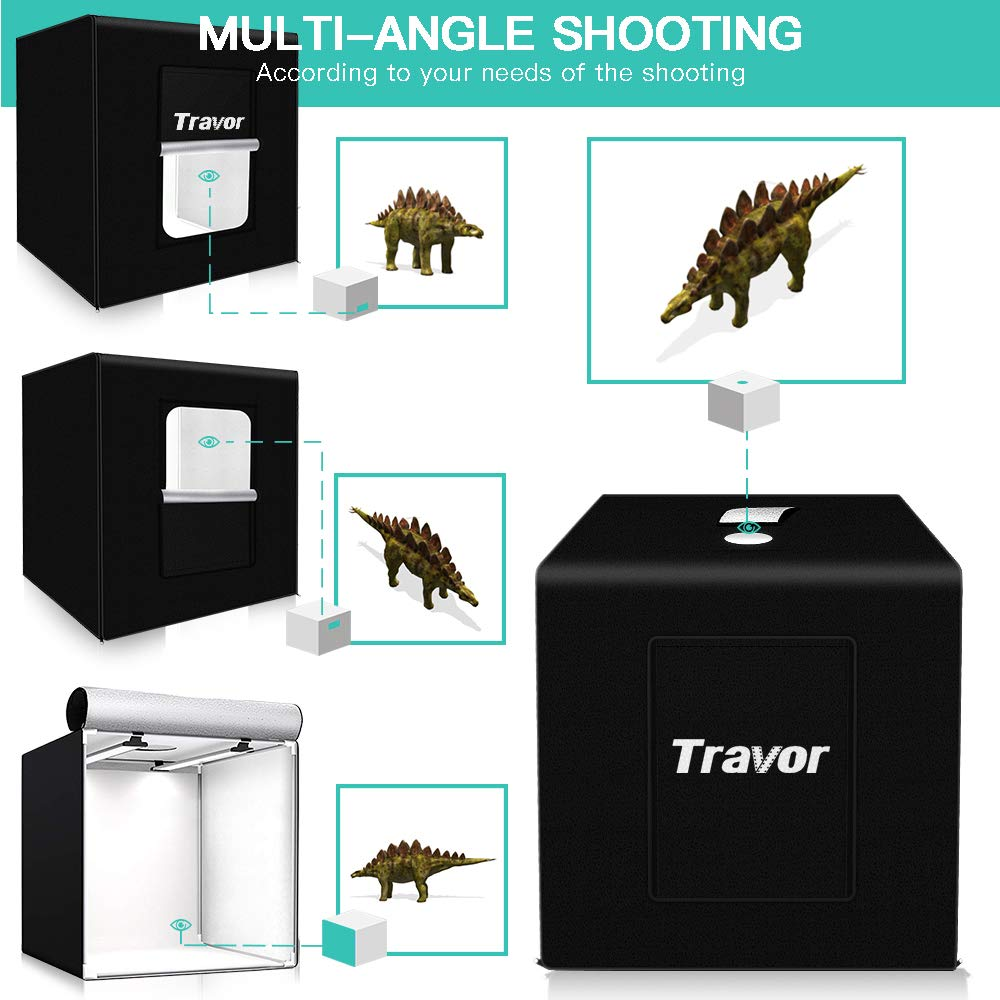 TRAVOR Photo Light Box Kit 32x32Inch Dimmable Photo Studio Professional Shooting Tent with LED Lights, 4 Backdrops (Black White Red Blue) for Photography (Brightness 13000lm, CRI95+) by Travor (Image #2)