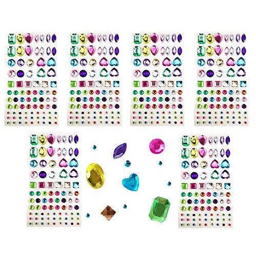 Yexpress 486pcs Sheets Self-Adhesive Rhinestone Sticker, Multicolor Bling Craft Jewels Crystal Gem Stickers, Assorted Size and Shapes, 6 Sheets (Peel And Stick Rhinestones)