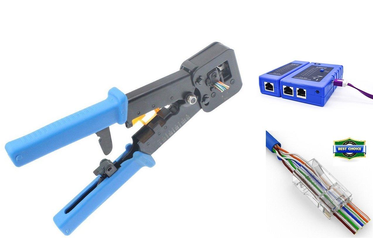UbiGear Professional Pass-Through Network Tool Kits Cable Tester +Crimp Crimper +50 RJ45 CAT5 CAT5e Pass-through Connector Plug Network Tool Kits (PassThrough)