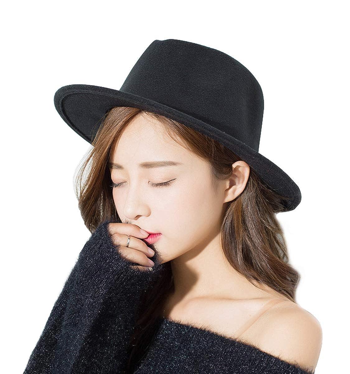 Women Men Woolen/Straw Fedora Vintage Short Brim Crushable Jazz Hat