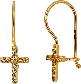 I-be, Kors med zirkonia örhängen, 14 k (585) guld, 6 x 14 mm, 39585883201PH